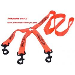 Laisse triple nylon orange 1,20m