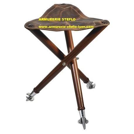 Trépied bois/cuir/métal assise 38cm