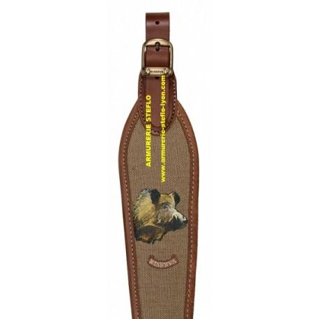 Bretelle carabine cuir + lin / Sanglier - Riserva